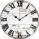 壁掛け 時計 レトロ アンティーク調 プリント 北欧 スタイル インテリア 木製 直径30cm 白 黒 (ホワイト 白)