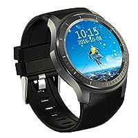 JIANFCR DM368スマート腕時計AMOLEDフルラウンド画面アンドロイド5.1 WIFI/GPS/3Gコール/心拍数監視Bluetooth歩数計実行ステップカロリーカウンター男性&女性のための (色 : ブラック)