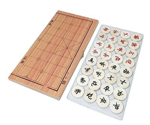 【KUENTAI】 木製 中国将棋 ケースが盤になる 駒を一緒に持ち運びでき便利! ボードゲーム ホビー 2つ折り ポータブル カードゲーム ボードゲーム (タイプ3(34×18cm))