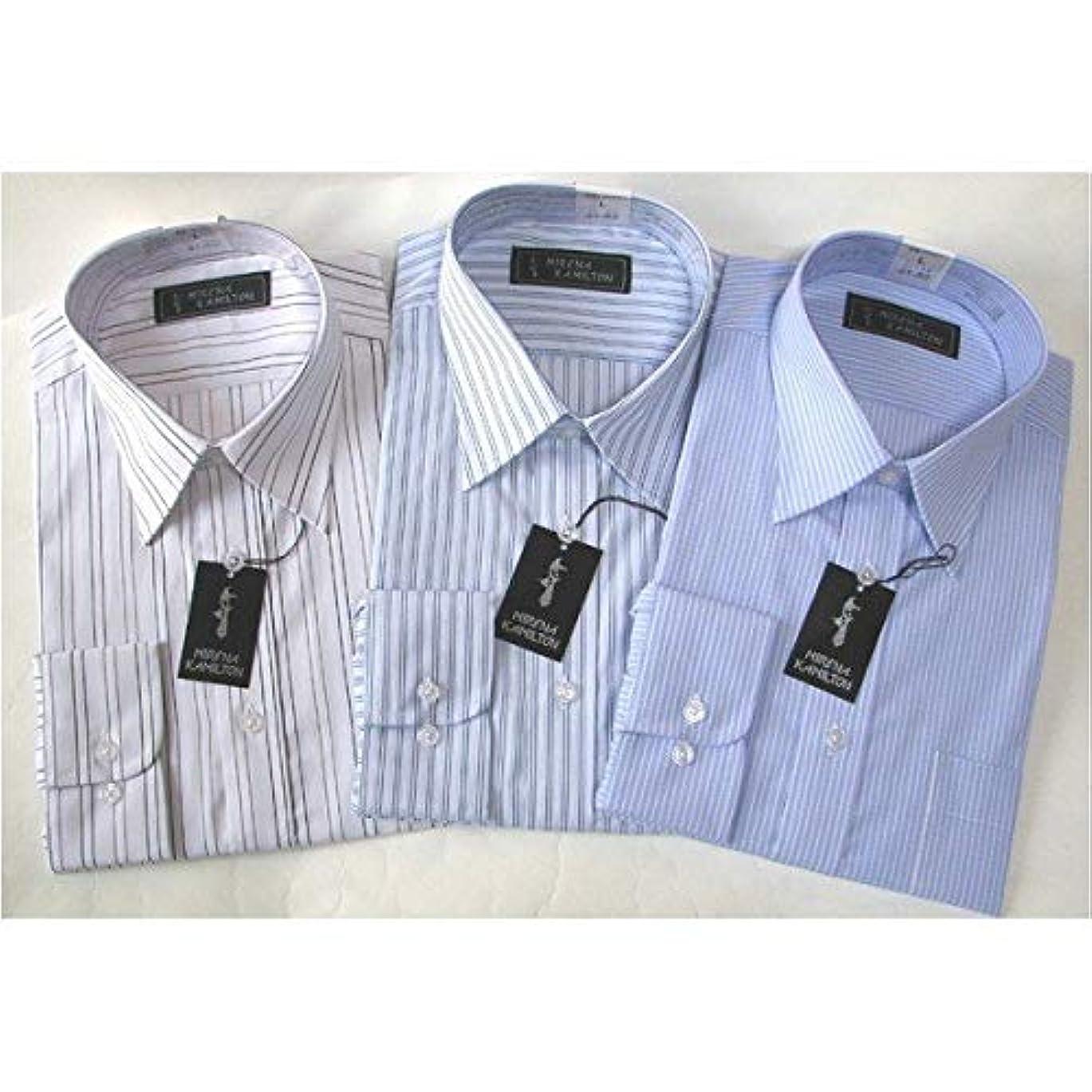 いちゃつく正確さシンプトンメンズビジネスストライプ ワイシャツ 長袖 Lサイズ 【 3点お得セット 】