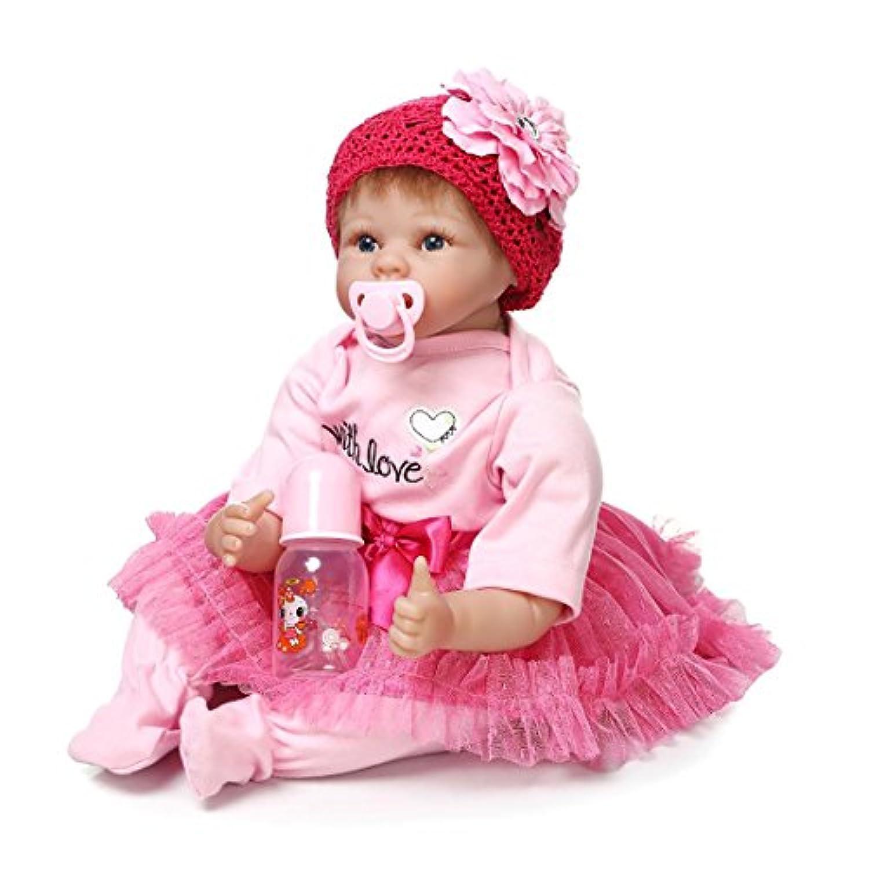 NPKCOLLECTION リボーンベビードールソフトシリコン22インチ55センチメートル磁気口ラブリーリアルなかわいい少年少女のおもちゃピンクの花のヘッドドレス 人形 Reborn Baby Doll JP