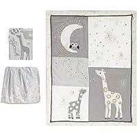 Lambs & Ivy Signature Moonbeams Giraffe Stars 3 Piece Crib Bedding Set Gray/Gold [並行輸入品]