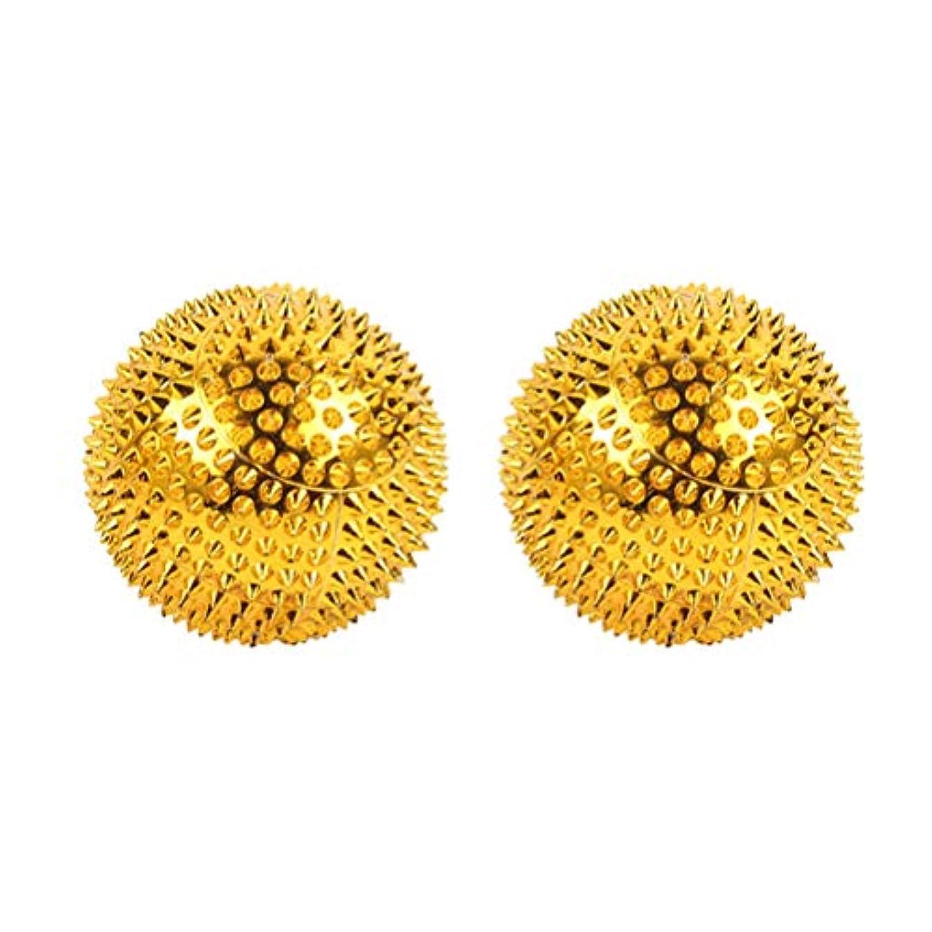 テメリティプロトタイプリーチHEALIFTY 磁気マッサージボール先端のとがった鍼灸ボール指圧マッサージ2本(ゴールデン)