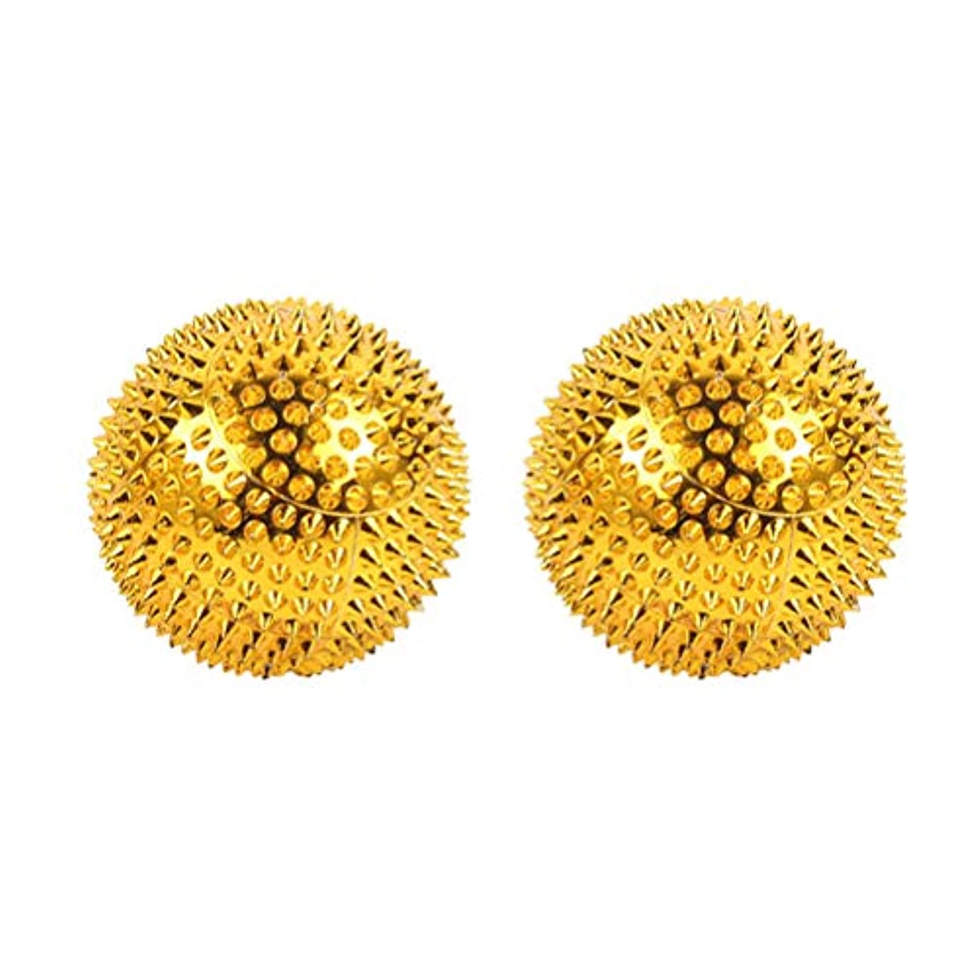 ペパーミント取り出す不適切なHealifty マッサージボール鍼灸ボール指圧マッサージ2本(ゴールデン)