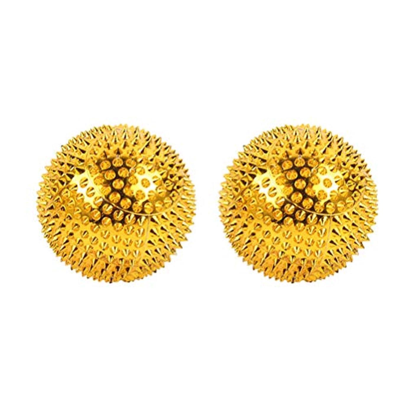 世代デンマーク流行Healifty ボディマッサージャーボール2本磁気ローリングマッサージボールとがった鍼灸ボール指圧マッサージ(ゴールデン)