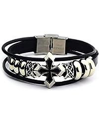 H&co accessory 十字架 クロス レザー ブレスレット バングル シルバー ブラック