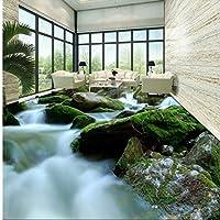 Weaeo 3Dステレオ高品質の緑の植物石の流れる水の寝室のリビングルームのバスルームの床の絵-450X300Cm
