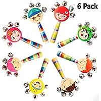 6個鮮やかな色スマイルレインボーハンドル木製ベルJingle Stick Shaker Rattleベビーキッズ子供ミュージカルおもちゃ