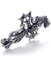 [テメゴ ジュエリー]TEMEGO Jewelry メンズキュービックジルコニアステンレススチールヴィンテージペンダントゴシッククロスネックレス、ブラックシルバー[インポート]