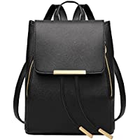 Coofit Adult Black Leather Backpack Schoolbag Casual Daypack