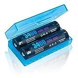 【2本セット】ROKKES 18650 電池 バッテリー 3400mAh 3.7V 充電式リチウムイオン電池 陽極PCB回路 付属電池ケース 戦術懐中電灯電池 (Panasonic製Cell+SEIKO製PCB回路搭載)