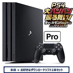 PlayStation 4 Pro ジェット・ブラック 1TB (CUH-7200BB01) お好きなダウンロードソフト2本セット(配信) & 【Amazon.co.jp限定】オリジナルカスタムテーマ (配信)