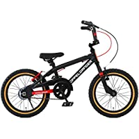DOPPELGANGER(ドッペルギャンガー) 16インチ子ども用自転車 [付け替えできる補助輪/スタンド付属] 前後V型ブレーキ [適応身長目安:110cm~] ブラック×レッド DXR16-RD ブラック