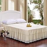 君のホームカザリ  ベッドスカート ナチュラルフリル ベッド スカート  四季適用 バイアス 純天然 高級 高質感 (180*230CM, B)