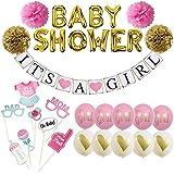 女の子用ベビーシャワーデコレーション – It's A Girlバナーデコレーションセット ベビーシャワー用 – ピンクとゴールド – 完全で実用的なパーティーバンドル – 可愛い写真小道具付属 – お金と時間を節約