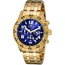 Invicta Men's 1490 Chronograph Blue Dial 18k Gold Ion-Plated Stainless Steel Watch