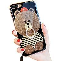 3d Teddy BearブラウンIphone 6s Plusキラキラ光る可愛いソフトシリコンゴム製保護ケース iPhone 6 / 6s LA-02188