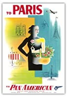 パリ、フランス - パン・アメリカン航空(PAA) - エッフェル塔、ノートルダム - ビンテージな航空会社のポスター によって作成された ジャン・カルリュ c.1950s - アートポスター - 33cm x 48cm