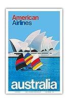 オーストラリア - オペラシドニー - アメリカン航空 - ビンテージな航空会社のポスター c.1969 - アートポスター - 31cm x 46cm