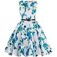 Kate Kasin Girls Sleeveless Round Neck Vintage Cotton Floral Pattern Dress KK250