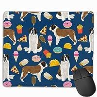 セントバーナード犬の犬とジャンクフードのデザインタコスフライドポテトドーナツマウスパッド 25 x 30 cm