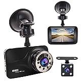 Accfly デュアルドライブレコーダー 前後カメラ デュアルレンズ フル3.0インチLCD HD 1080P , ダブルカメラ 広視野角 Gセンサー搭載 ループ録画 駐車監視 夜視機能搭載