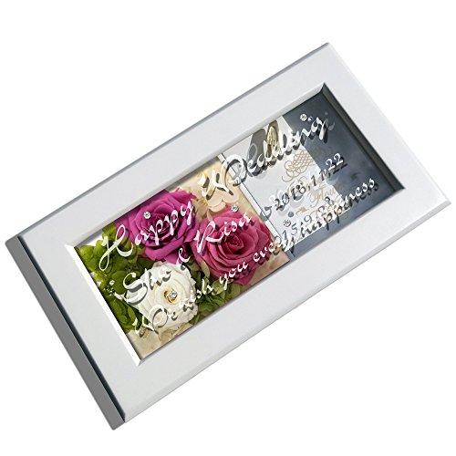 オルゴールのガラス窓にメッセージを彫刻 プリザーブドフラワー入り きらきら誕生石スワロフスキーも入ります!(ホワイト/ピンク)