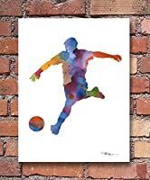 """"""" Soccer player """"抽象水彩アートプリントby Artist DJ Rogers"""