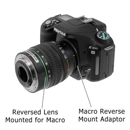 Fotodiox 49mm フィルターネジ マクロリバースマウントアダプターリング ペンタックスKカメラ用 ペンタックスにフィット