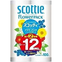【ケース販売】 スコッティ フラワーパック 2倍巻き トイレット6ロール 100mシングル ×8パック入り