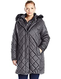 Larry Levine Women's Plus Size 3/4 Diamond Quilted with Bib and Ff Trimmed Hood Pewter 2X [並行輸入品]