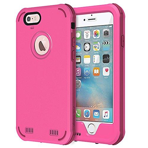 ZVE Iphone6/6S アイフォン6/6S 4.7インチ ケース カバー 防水 耐震 防塵 耐衝撃 本体液晶保護フィルム付き (レッド)