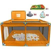 ポータブルベビーキッズバスケットボールのフープとボールを持つ折りたたみ式の遊び場遊び庭の部屋の分割機オックスフォードクロス8サイドパネル (色 : オレンジ)