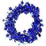 ガーランド ワイヤー入り 星 デコレーション キラキラ 輝く アクセント ブルー