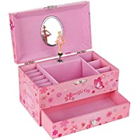 (Princess & Butterfly) - SONGMICS Ballerina Musical Jewellery Box Girls Jewel Storage Case UJMC003