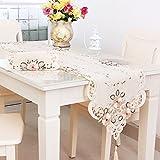 uxcell テーブルランナー飾りふさ ビンテージの花刺繍 結婚式装飾 花のつる 40x200cm