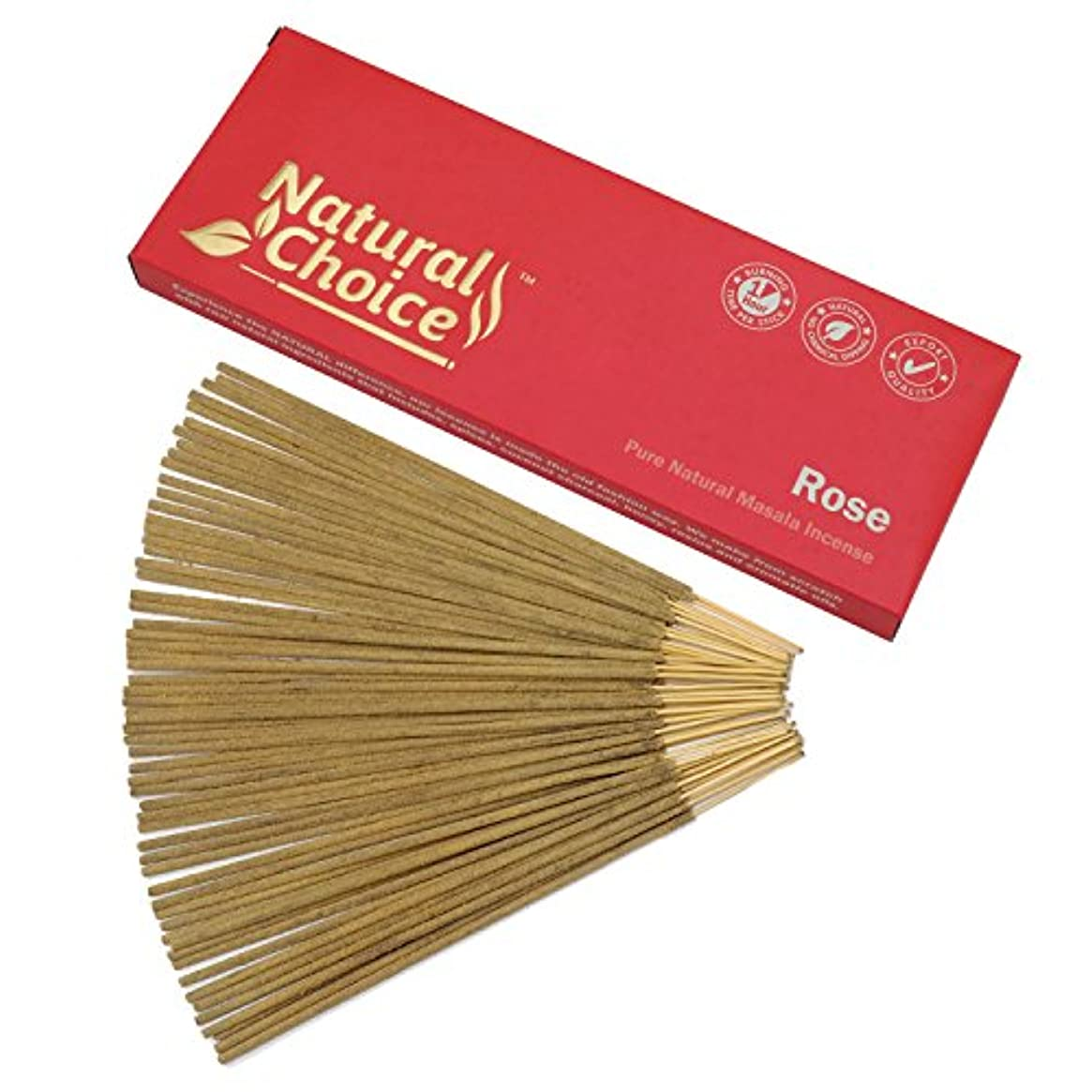 クレア社交的リネンNatural Choice Incense Rose Incense Sticks 100 gm – Made from Scratch – No Dipping
