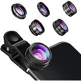 カメラレンズキット Hizek 5in1スマホレンズ クリップ式 198°魚眼レンズ 0.63X広角レンズ 15倍マクロレンズ 2倍望遠レンズ CPLレンズ iPhone Samsung iPad Sonyなど対応