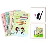 Sank Reusable Practice Copybook for Kids - The Print Handwiriting Workbook-Reusable Writing Practice Book (Four Books with Pe