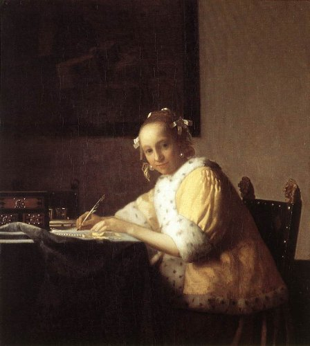 eappika(イエッピカ) おうちに小さな美術館 アートセラピーシリーズ 思わず絵を描きたくなる 癒しの名画コレクション 2Lサイズ 手紙を書く女 1665年 [光の画家 ヨハネス・フェルメールコレクション] 19≪白のフレームセット≫