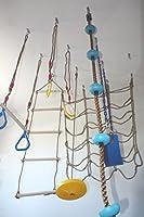 室内遊び場スイングセット 戸口ジムおよび天井取り付け用 選べるオプション:スイング、トラペース、登山ロープ、リング、梯子、カーゴネット Doorway Bar+1 item