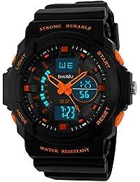 BesWlz多機能デジタルLEDクォーツ腕時計防水電子スポーツの男の子の女の子の腕時計子供の子供の贈り物 (オレンジ)