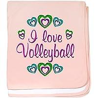CafePress – I Love Volleyball – スーパーソフトベビー毛布、新生児おくるみ ピンク 05760280446832E
