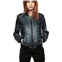 Women's Sequin Blazer Long Sleeve Clubwear Sparkly Zipper Front Bomber Jacket