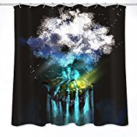 Novelty Tree Creative Waterproof Shower Curtain Bathing Liner Anti-Bacterial and Mildew Resistant Polyester Bath Bathroom Washroom Restroom Toilet Curtain Decor with Hooks (150x180, 11)
