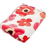 ひざ掛け 毛布 mofua ブランケット プレミアムマイクロファイバー とろけるような肌触り 静電気防止 軽量 洗える 高密度 品質保証書付き ハーフ フラワー 100×70cm レッド