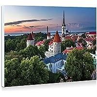 エストニア、タリン、都市、住宅、木、夕暮れ、夏 - 壁の絵 壁掛け ソファの背景絵画 壁アート写真の装飾画の壁画 - (50cmx35cm)