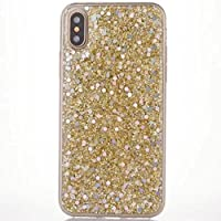 iPhone X ケース, Shiny Tinfoil Paillettes Soft TPU Elegant Slim カバー, TAITOU Attractive Bling Insert Sparkling Platinum UltraLight Thin ケース for Apple iPhone X Gold