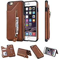 WVYMX iPhone 6S Plus Wallet with Card Holder, カバー スタンド機能 横開き 軽量 薄型 耐衝撃 高級 PUレザー 折り畳み式 手帳型ケース 全面保護カバー カード収納 for iPhone 6S Plus Brown