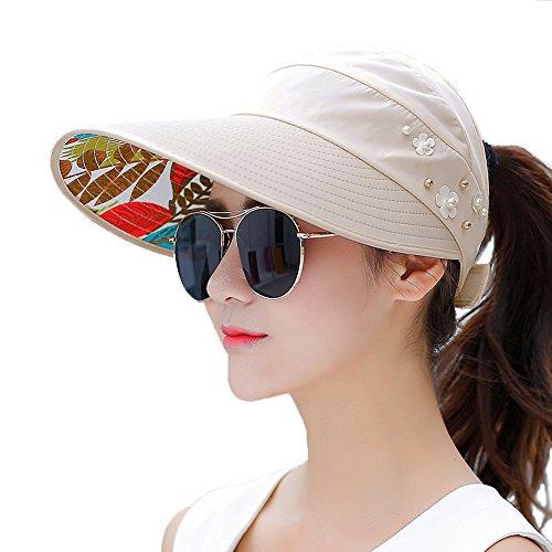 サンバイザー ジョギング ランニング ゴルフ テニス メンズ レディース 帽子 吸汗速乾 抗菌防臭 日焼け防止 UVカット 紫外線対策 軽量 (ベージュ)